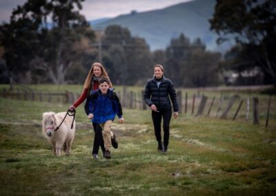 Will Callaghan running happily at the farm