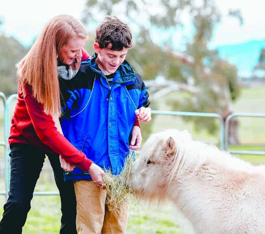 Will and Simone feeding a pony at the farm
